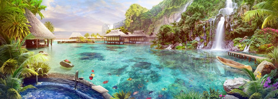 10Tropical lagoon with waterfalls
